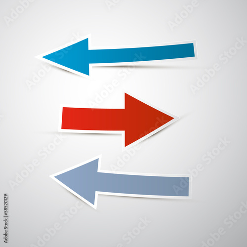 Retro Vector Paper Arrows Isolated on Grey background