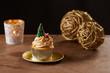 Christmas tree cupcake on Xmas background
