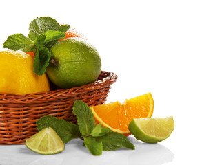 Citrus in wicker basket