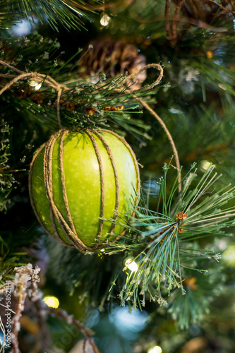 Green apple on the christmas tree