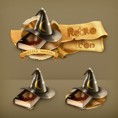 Wizard hat and old book icon