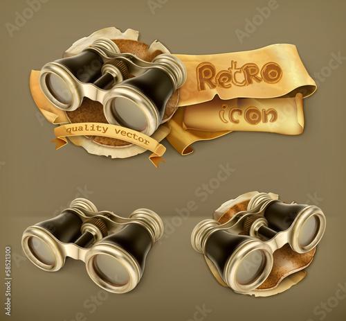 Vintage binoculars icon