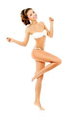 beautiful brunette in a bikini