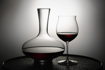 Red wine in glass and Decanter