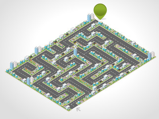 Colorful cartoon isometric city in the shape of a maze