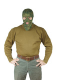 Man wears green camouflage mask
