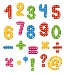 Set of numbers and punctuation marks