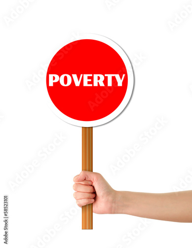 Hand holding poverty red sign