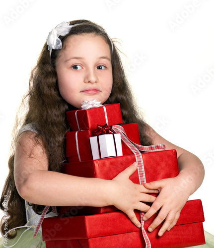 little girl with gifts