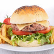 burger on plate with french fries