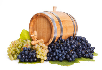Small barrel in a bunch of grapes