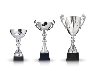 three different kind of silver trophies. Isolated on white backg