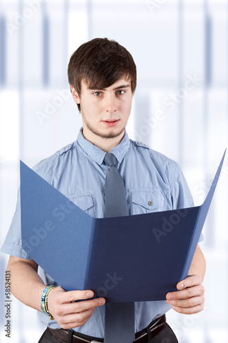Young businessman with contract