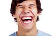 Happy teenage laugh closeup over white