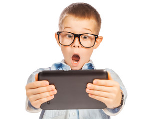 happy boy with tablet. isolated