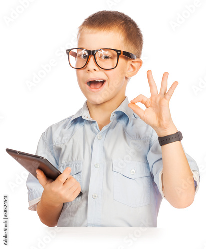 cute boy with tablet. isolated