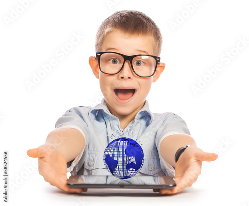 kid with tablet. isolated. concept