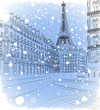 Vector illustration of snowy Christmas Paris