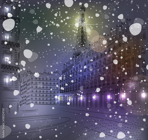 Night snowy Christmas Paris
