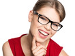 Happy smiling optician woman wearing spectacles, isolated