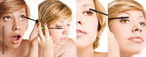 Make-up. Long Eyelashes. woman