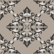 Seamless damask floral Pattern in shades of gray