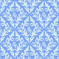 Light blue seamless damask Wallpaper.