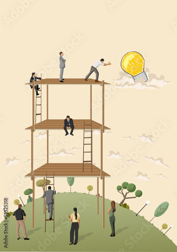 Business people trying to reach a idea light bulb.
