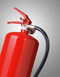 fire extinguisher on gray background