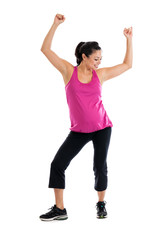 Pregnant woman doing low impact aerobics dance