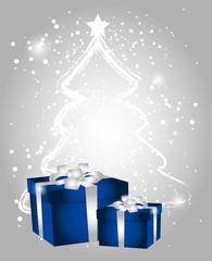pacco regalo su sfondo natalizio