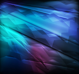 Neon abstract blue lines design on dark background vector