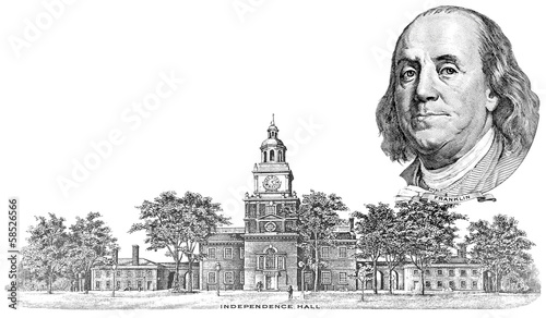 Gravure of Benjamin Franklin and Independence Hall