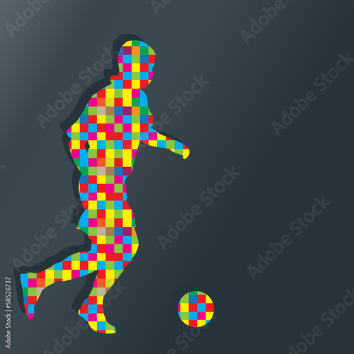 Soccer player kicks the ball vector background concept