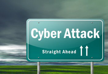 "Highway Signpost ""Cyber Attack"""