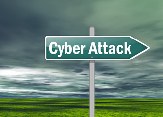 """Signpost """"Cyber Attack"""""""