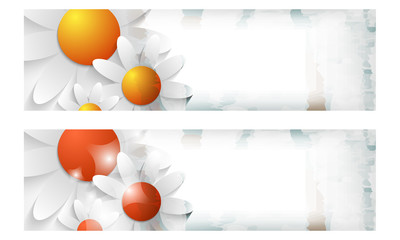 two colored vector abstract banner with flowers