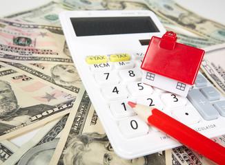 House money and calculator.
