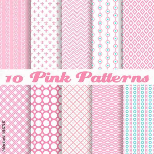 Pink different vector seamless patterns