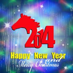 Creative New Year card Christmas.  New Year Horse.  Vector