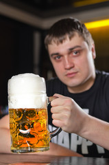 A very large litre tankard of beer