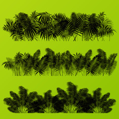 Tropical exotic jungle grass and plants detailed silhouettes bac