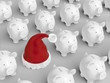 Piggy bank - grid with red santa hat
