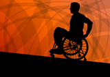 Active disabled man in a wheelchair detailed sport concept silho