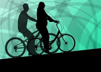 Active young family cyclists bicycle riders active sport silhoue