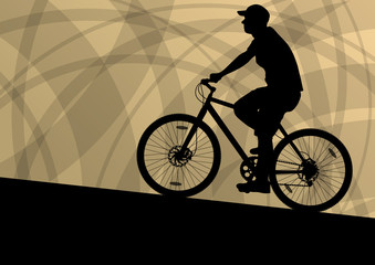 Active cyclist bicycle rider active sport silhouette vector back
