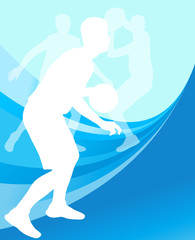 Basketball players active sport silhouettes vector background il