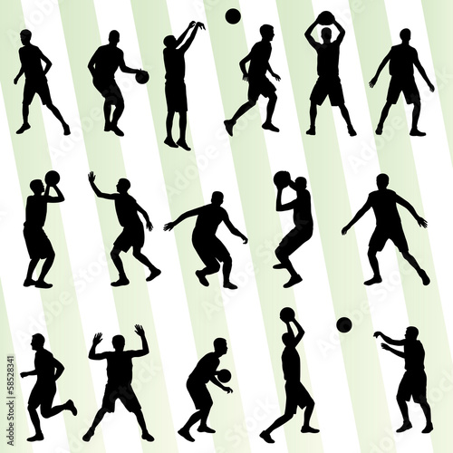 Man basketball vector background silhouette set