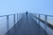 Walking on a footbridge