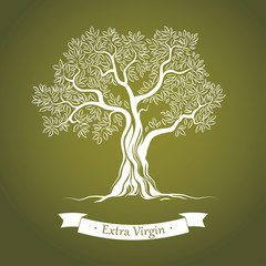 Olive tree on green paper. Olive oil.  For labels, pack.